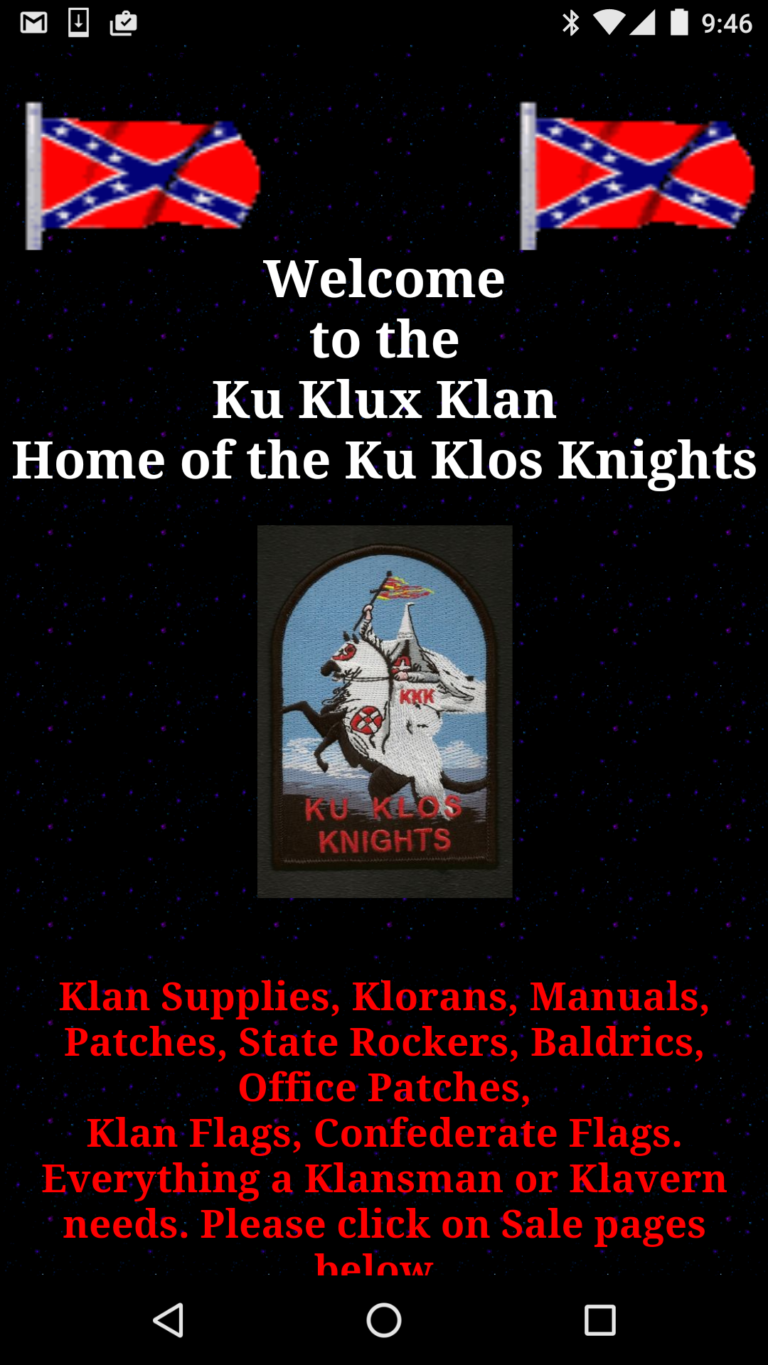kkk racist website ugly